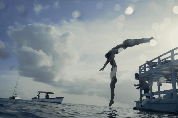 Barbados Jumping into Sea